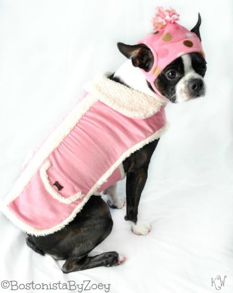 Dog coats- pink coat, pink polka dot hat