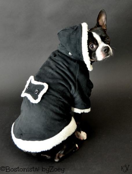 dog coats- Black sherpa coat 2